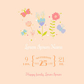 Baby Arrival Card - for design and scrapbook