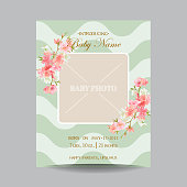 Baby Arrival Card with Photo Frame -Blossom Flowers Theme