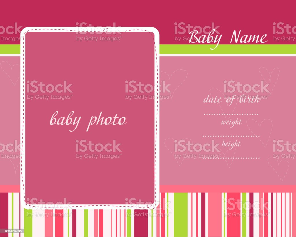 Baby Arrival Card with Photo Frames royalty-free baby arrival card with photo frames stock vector art & more images of announcement message