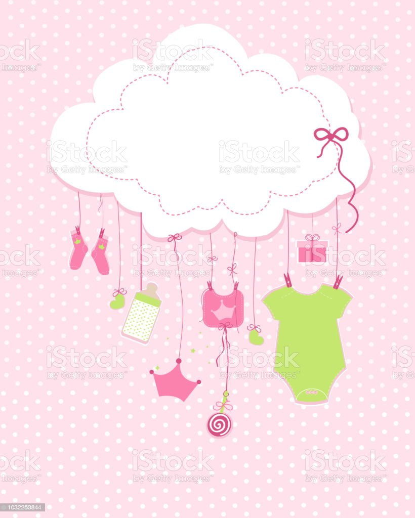 Baby Arrival Greeting Card Baby Shower Invitation Newborn Baby Girl