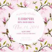 Baby Arrival or Shower Card - with Spring Magnolia Flowers