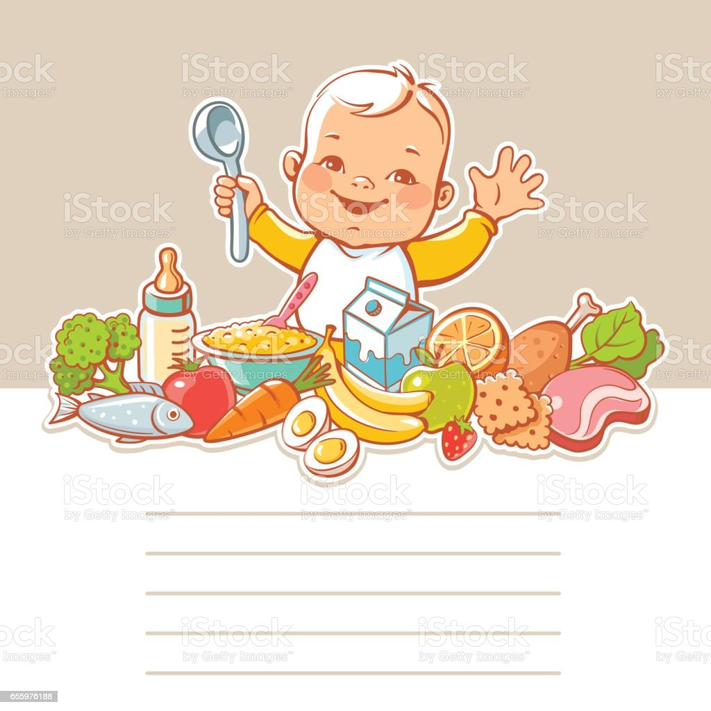 Baby at table with food. vector art illustration