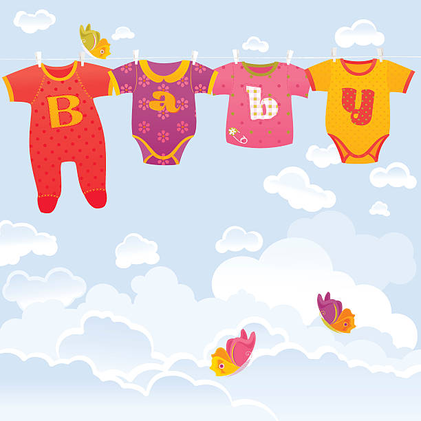Baby Background Four colorful baby suits hanging on sky background with butterflies. Vector. EPS 8. infant bodysuit stock illustrations