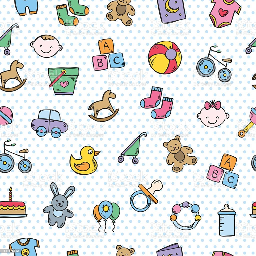 Ilustración de Bebé Fondo Vector De Sin Costura Patrón Con Juguetes ...