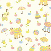 A baby background with animals, umbrella and flower
