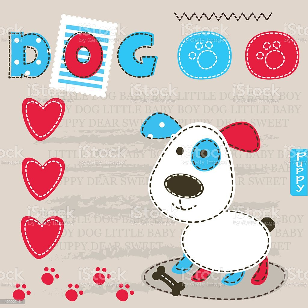 Baby background with cute dog vector art illustration