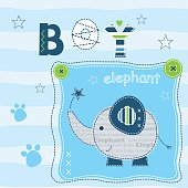 Baby background with cute elephant