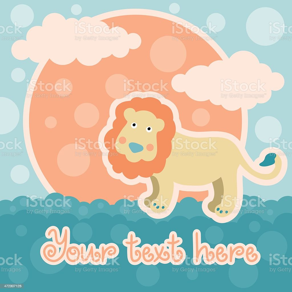 Baby background with lion and space for text royalty-free stock vector art