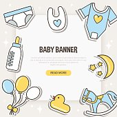 Banner on the baby theme. Vector flat line illustration.