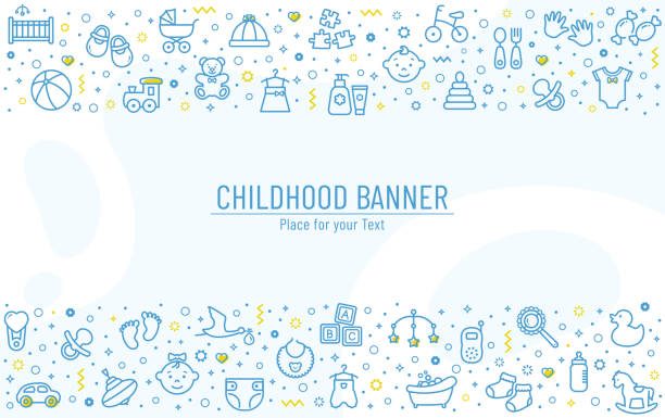 Baby banner with line icons. Vector background. Baby banner with line icons - children's toys, food, clothes. Newborn and kids, feeding and care themes. Vector horizontal background with outline symbols and copy space. backgrounds icons stock illustrations