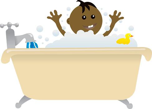 Baby Bath Time-vektorgrafik och fler bilder på Bada