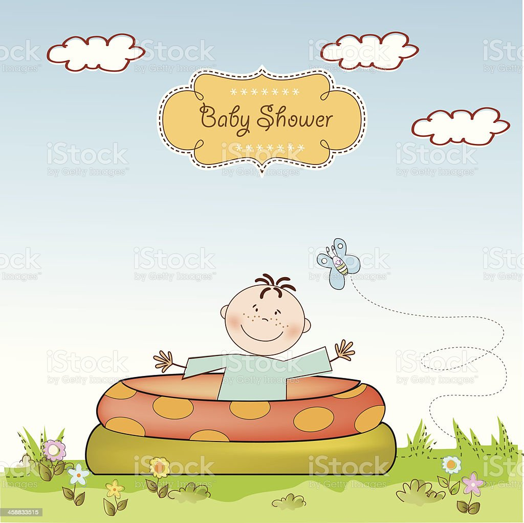 baby bathe in a small pool . shower announcement card royalty-free baby bathe in a small pool shower announcement card stock vector art & more images of abstract