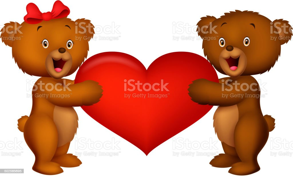 Baby bear holding red heart vector art illustration