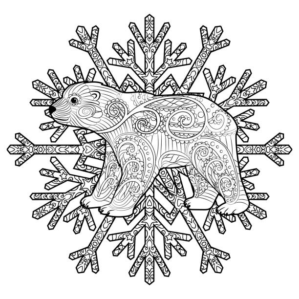 Baby bear in the tracery style. vector art illustration