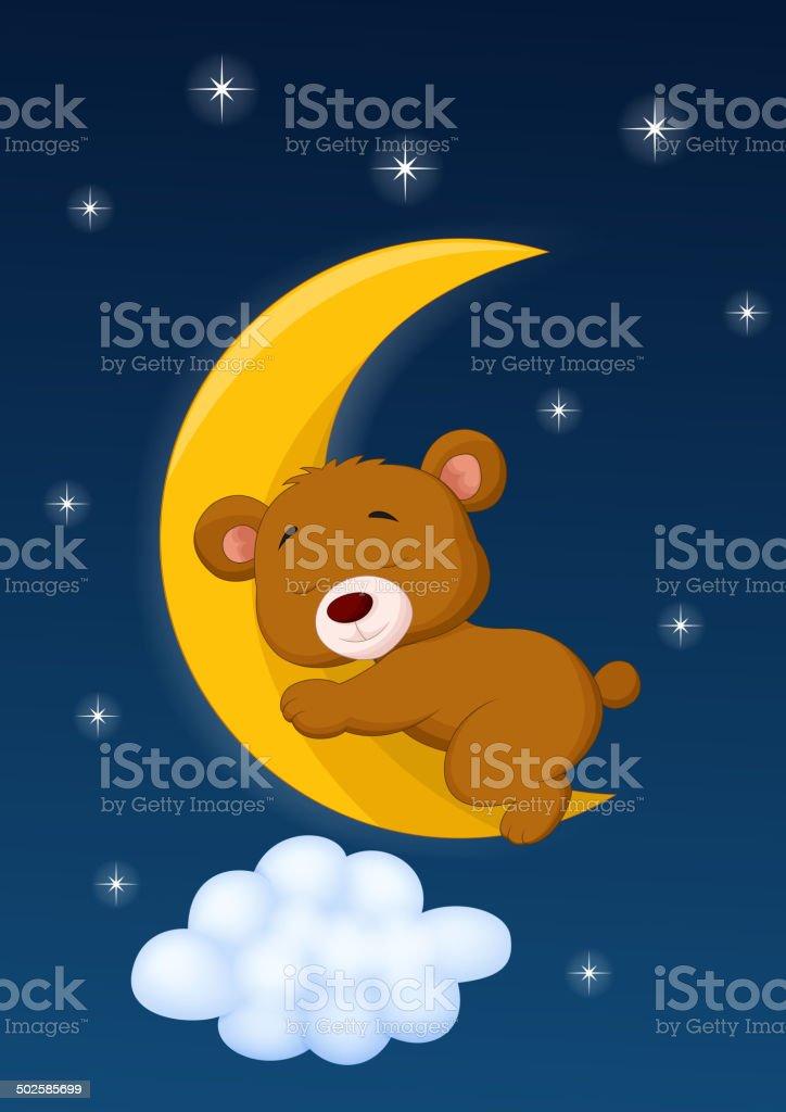 Baby bear sleeping on the moon vector art illustration