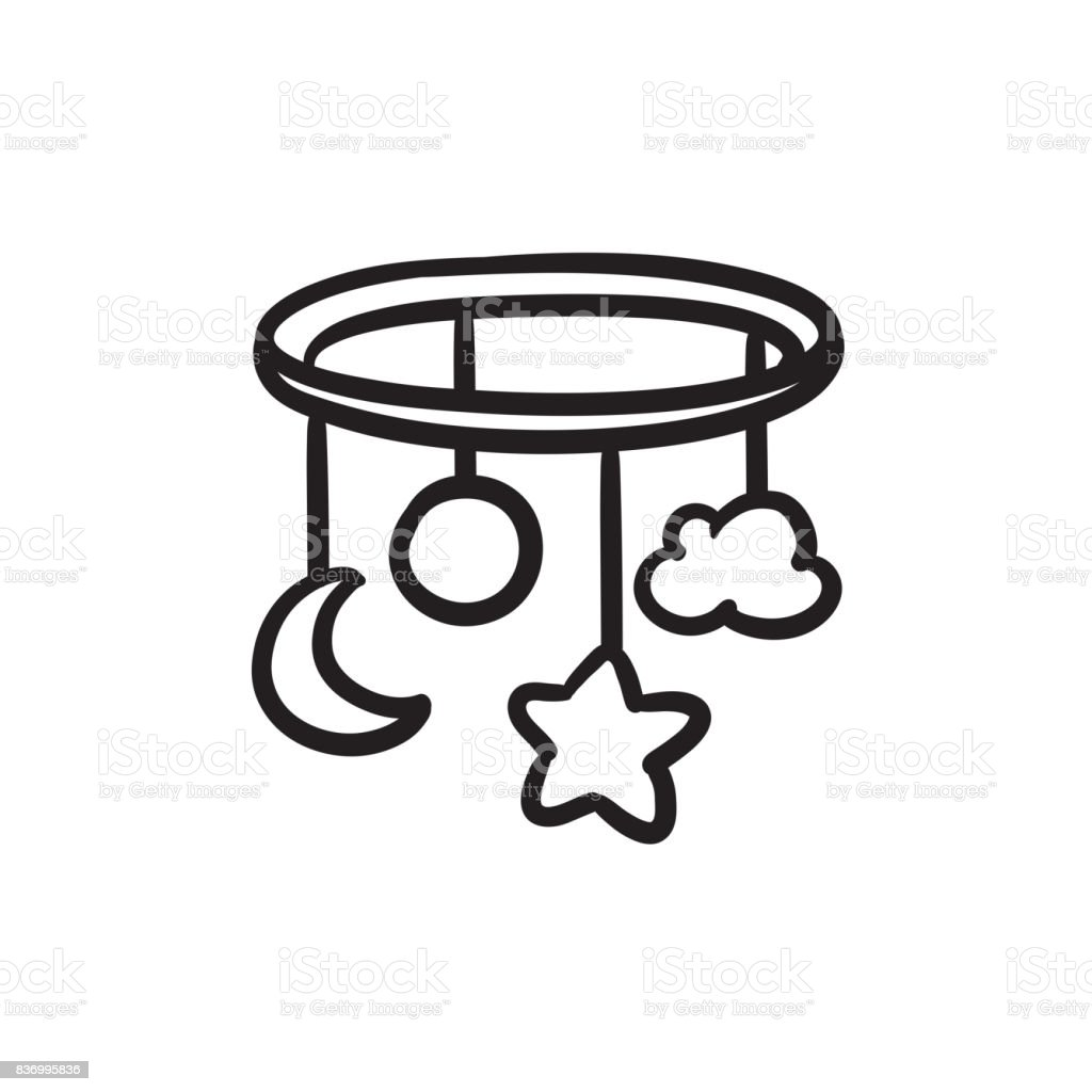 Baby bed carousel sketch icon vector art illustration