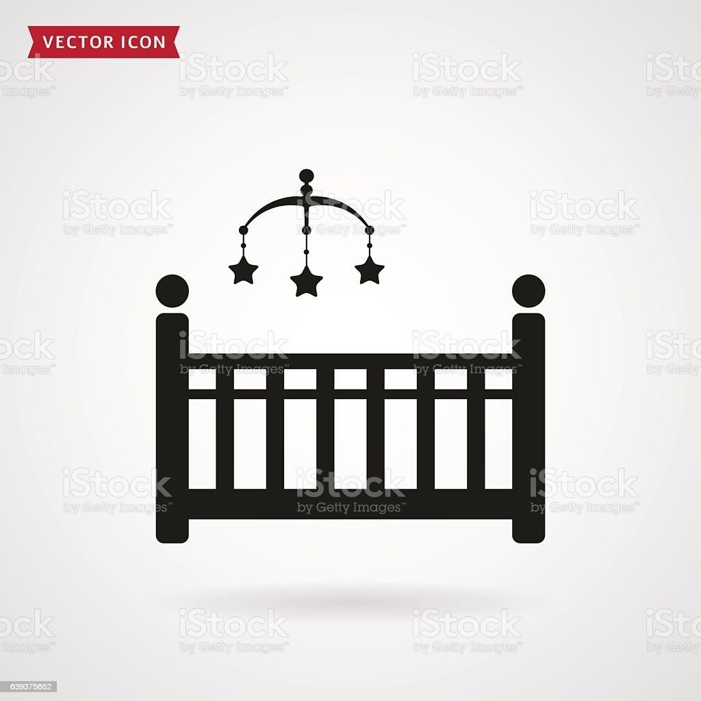 Baby bed with crib mobile icon. vector art illustration