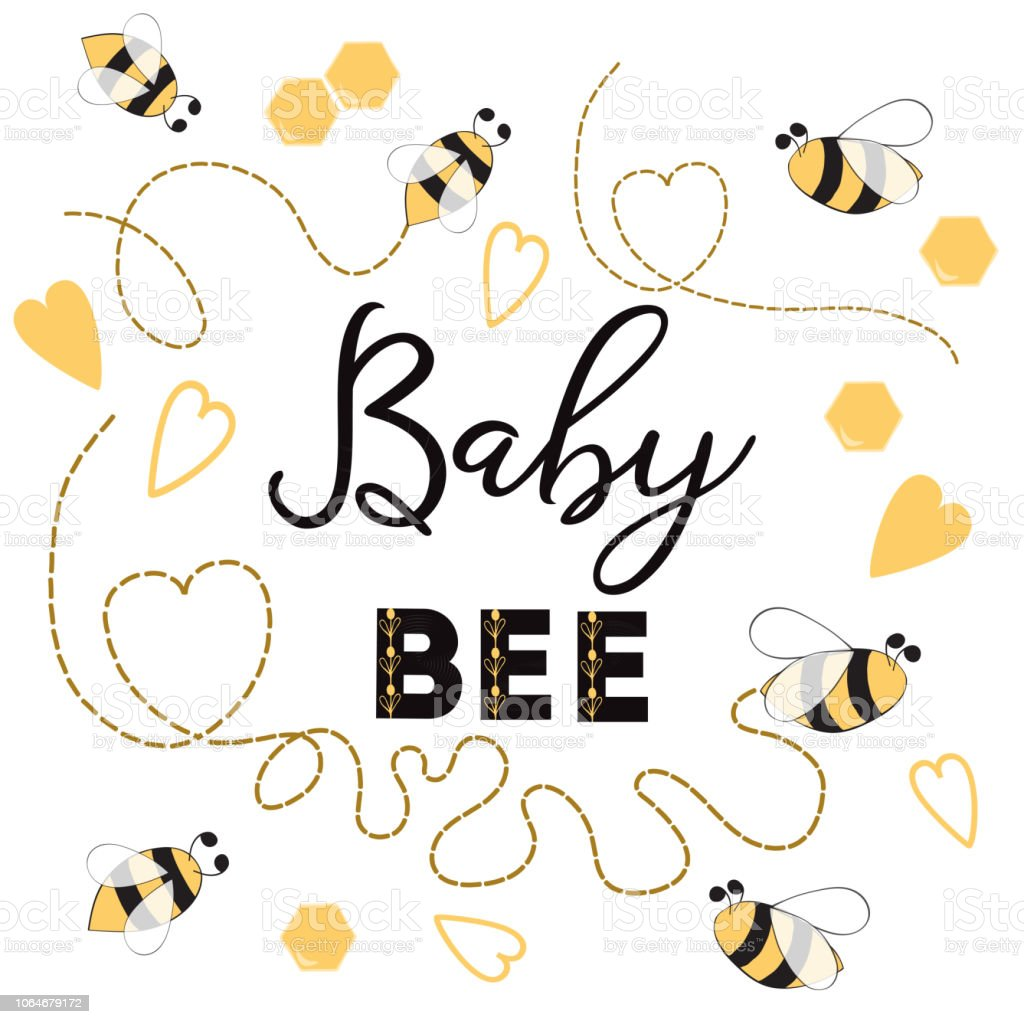 Baby Bee Banner Bee On White Background Cute Banner Design