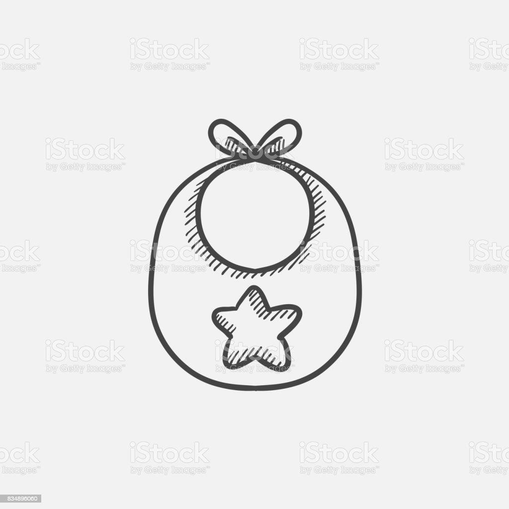 Icône de croquis pour le bavoir bébé - Illustration vectorielle