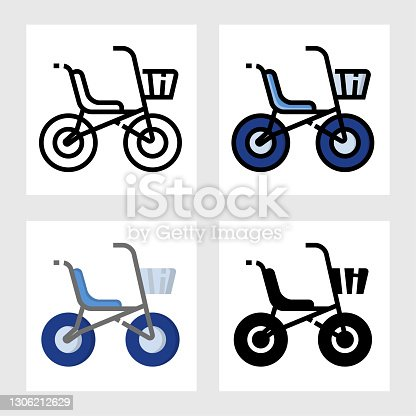 istock baby bicycle icon vector design in filled, thin line, outline and flat style. 1306212629
