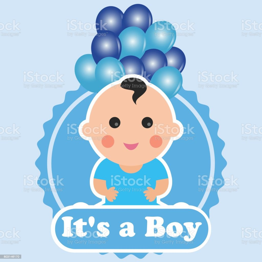 Baby Birth Announcement Message Its A Boy Vector