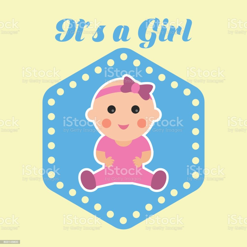 Baby Birth Announcement Message Its A Girl Vector