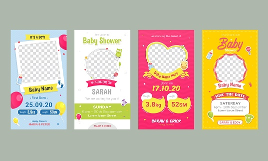 Baby birthday announcement social media post template