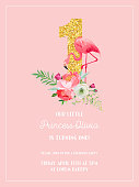 Baby Birthday Invitation Card with Illustration of Beautiful Flamingo, Flowers and Golden Glitter Number One, arrival announcement, greetings in vector