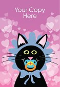 Vector illustration of a black cat wearing a baby bonnet ind sucking on a pacifier aganist a bag round of hearts.There is room at the top of the illustration to ad your own copy.