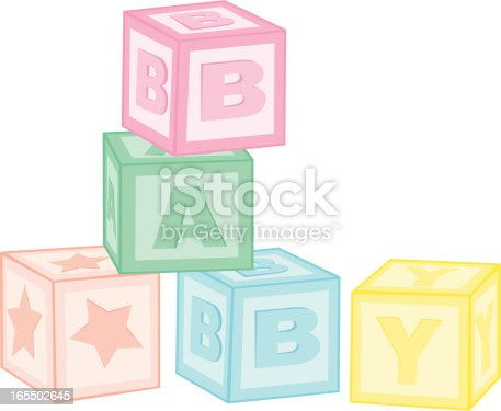 Colorful toy blocks stacked to spell out baby. No gradients were used. Extra large JPG, thumbnail JPG, and Illustrator 8 compatible EPS are included.