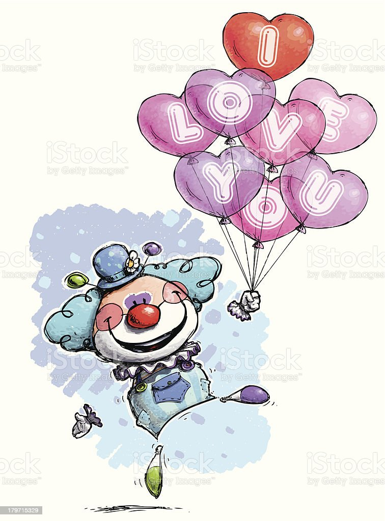 Baby Blue Clown  with Heart Balloons Saying 'I Love You' royalty-free stock vector art