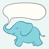 Baby blue elephant with a speech bubble