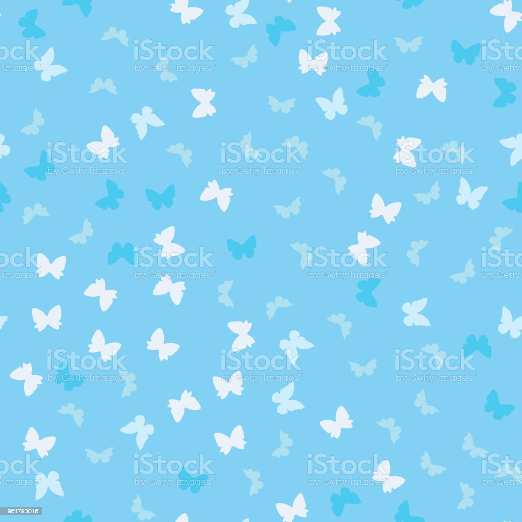 Baby blue seamless butterflies pattern royalty-free baby blue seamless butterflies pattern stock illustration - download image now