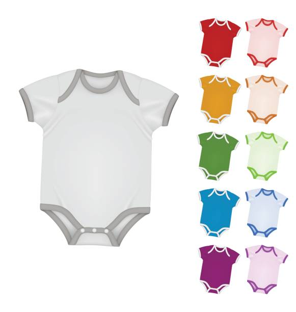Baby bodysuit blank template. Baby color bodysuit blank template isolated on white baby clothing stock illustrations