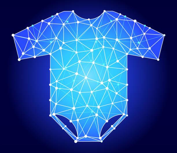 baby body blau dreieck knoten vektormuster - bodysuit stock-grafiken, -clipart, -cartoons und -symbole