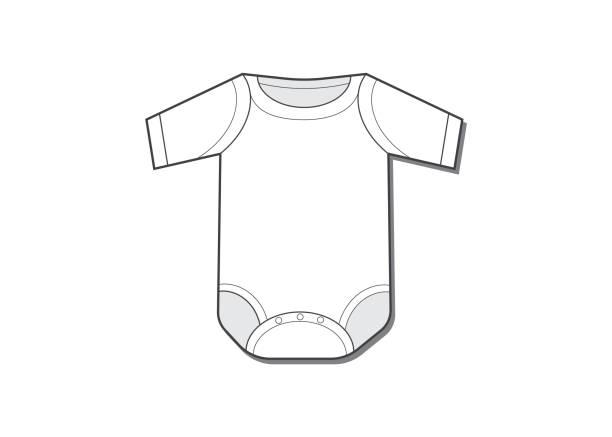 baby-body-flache skizze-vorlage. babybody - bodysuit stock-grafiken, -clipart, -cartoons und -symbole