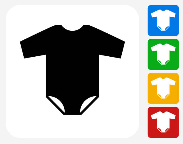 Baby Bodysuit Icon Flat Graphic Design Baby Bodysuit Icon Flat Graphic Design. This 100% royalty free vector illustration features the main icon pictured in black inside a white square. The alternative color options in blue, green, yellow and red are on the right of the icon and are arranged in a vertical column. infant bodysuit stock illustrations