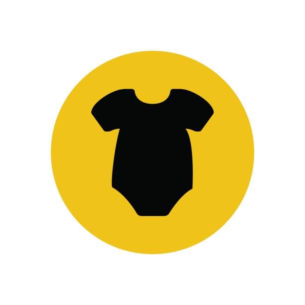 Baby bodysuit silhouette Baby bodysuit silhouette on the yellow background. Vector illustration infant bodysuit stock illustrations