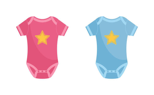 Baby bodysuit vector illustration set - pink and blue newborn wearing decorated with yellow star. Baby bodysuit vector illustration set - pink and blue newborn wearing decorated with yellow star isolated on white background. Infant clothing for boys and girls in flat style. baby clothing stock illustrations