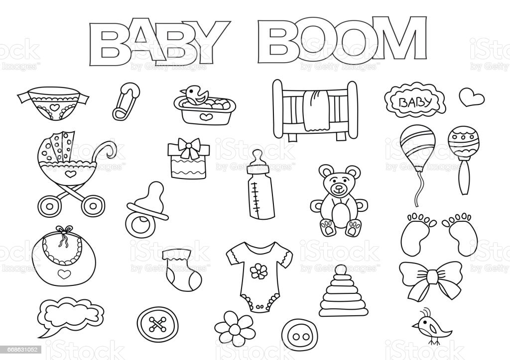 baby boom elements hand drawn set coloring book template outline doodle stock vector art more. Black Bedroom Furniture Sets. Home Design Ideas