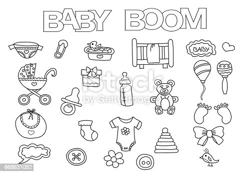 Baby Boom Elements Hand Drawn Set Coloring Book Template