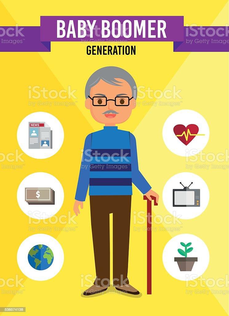 Baby Boomer Generation - cartoon character vector art illustration
