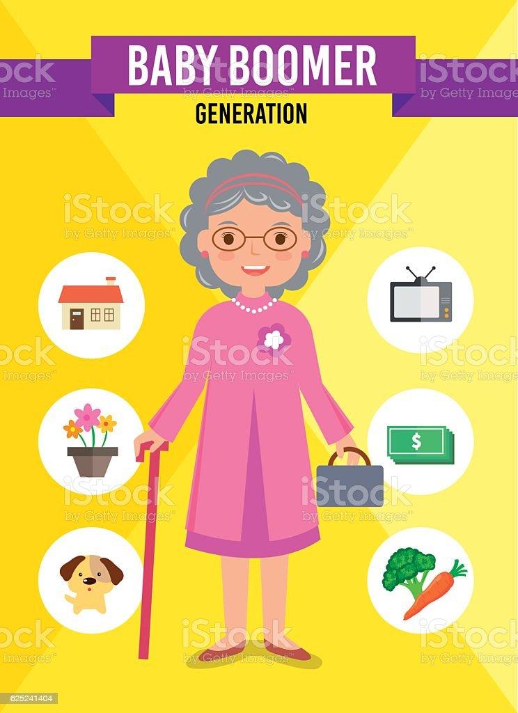 Baby Boomer Generation vector art illustration