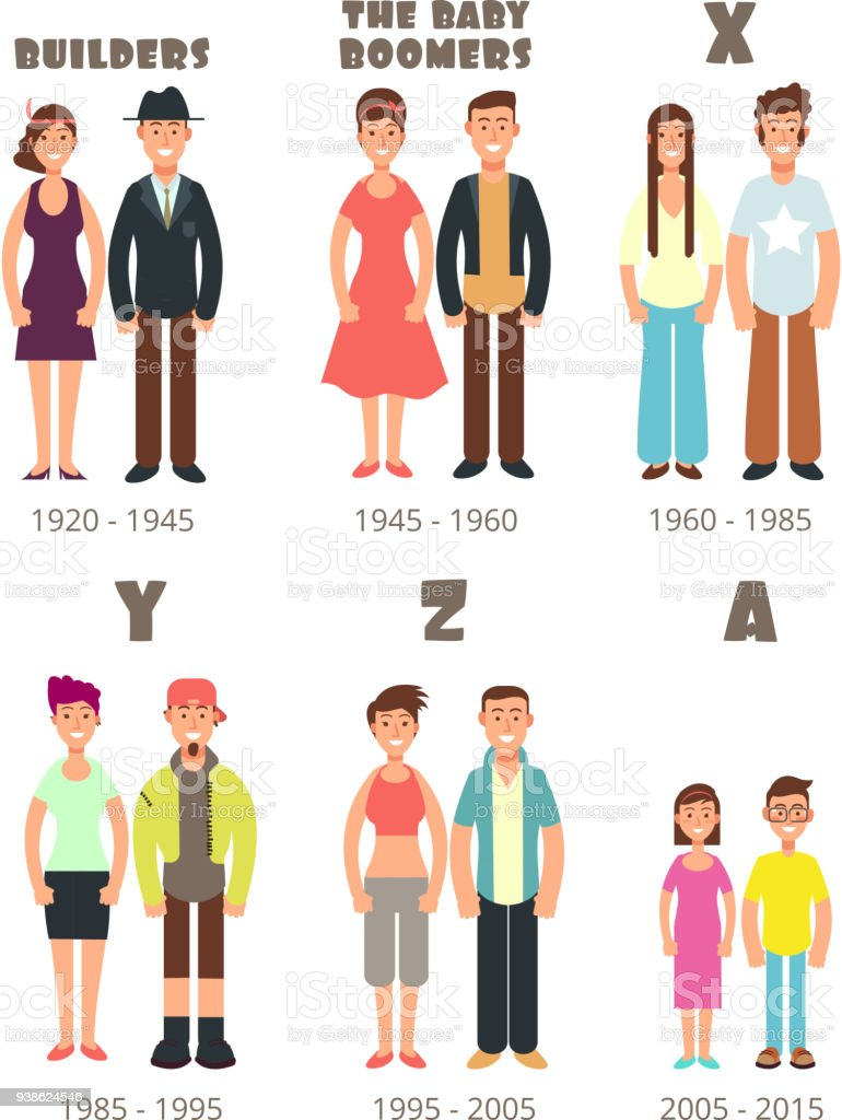 Baby boomer, x generation vector people icons vector art illustration