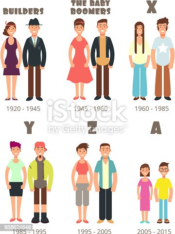 Ilustración de Baby Boomers X Los De Iconos Personas ...