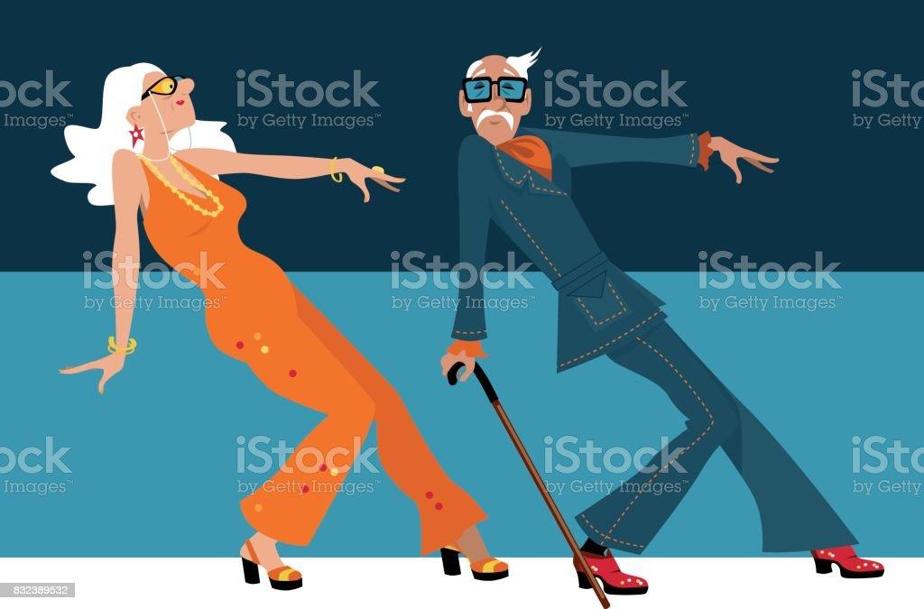 Baby boomers dancing vector art illustration