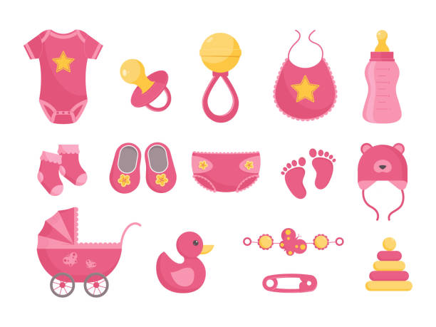 Baby born vector illustration set - various toddler equipment for little girl in flat style. Baby born vector illustration set - various toddler equipment for little girl in flat style. Pink newborn nursing and health care and hygiene products isolated on white background. baby carriage stock illustrations