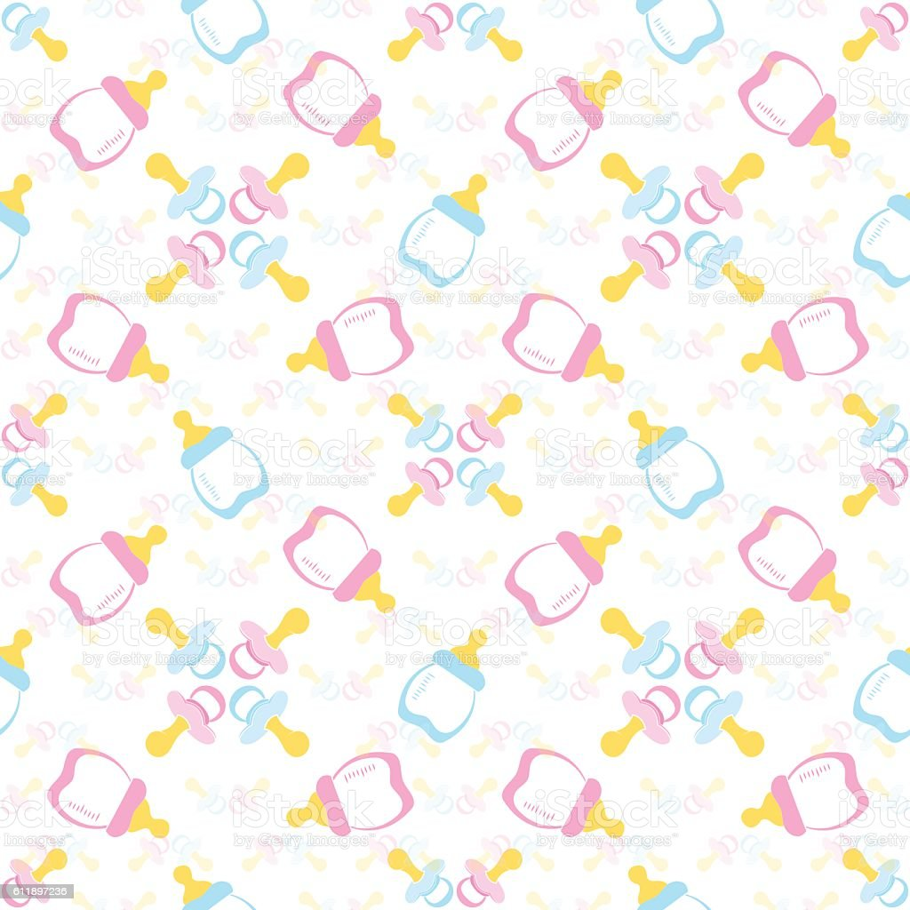 Baby bottle and Baby's dummy. Comforter seamless pattern background. vector art illustration