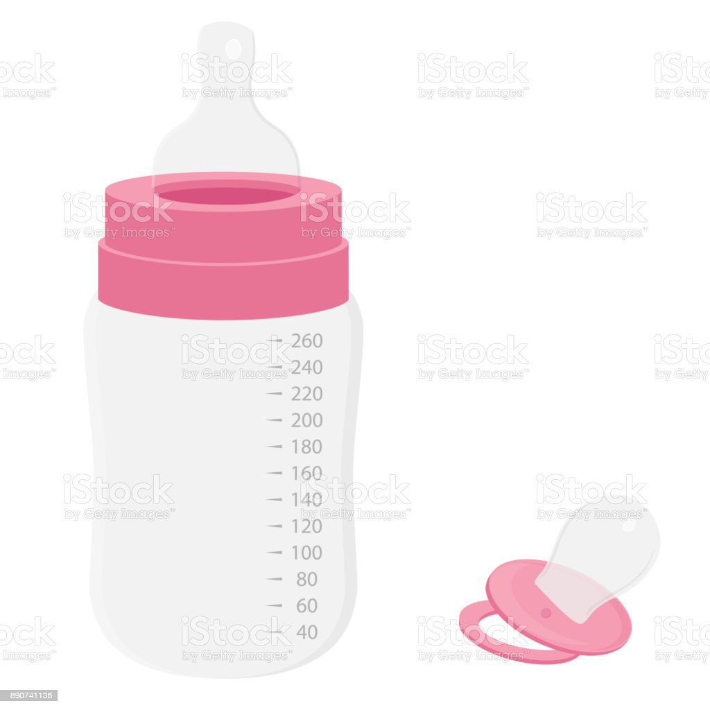 Baby bottle and pacifier vector art illustration