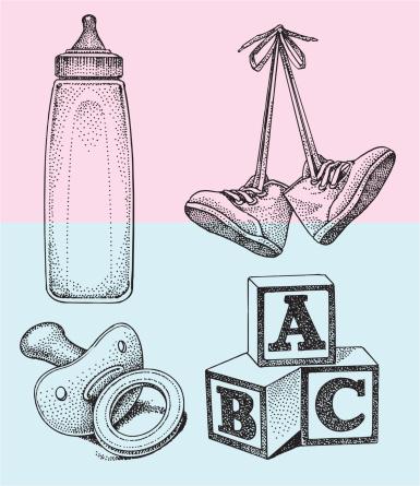 Baby Bottle, Blocks, Toddler Pacifier